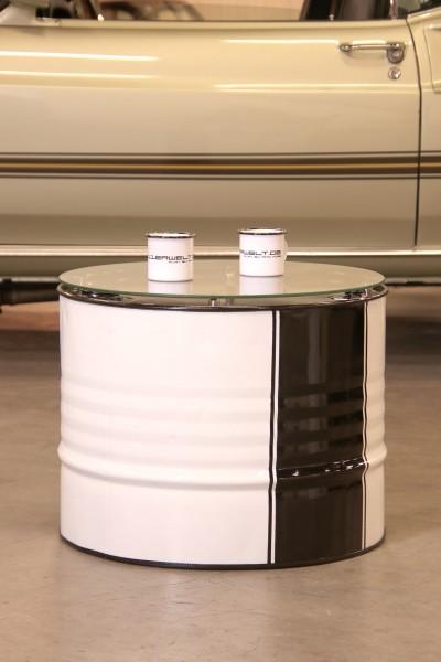 Beistelltisch für Rennsportfans mit Glasplatte